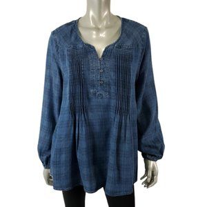 Style & Co Top Large Chambray Pleated Plaid Blue